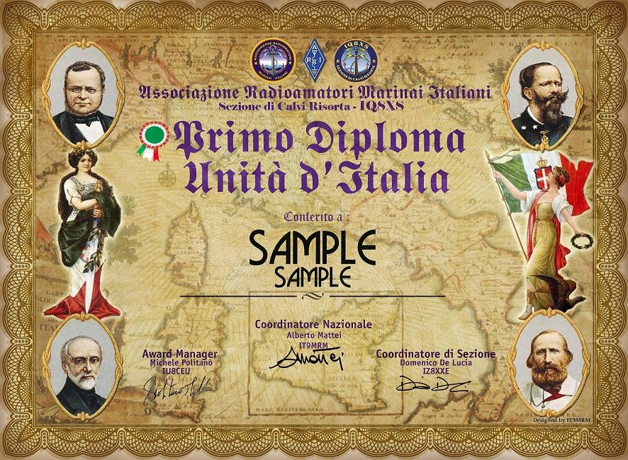 "1° diploma ""Unità d'Italia"""
