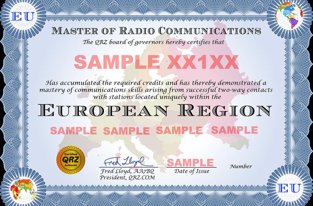 Nuovo diploma su QRZ.com (Master of Radio Communications Europe Award)